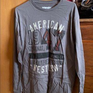 Men's Wrangler gray long sleeved graphic shirt